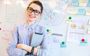 smart woman with whiteboard of notes and diagram
